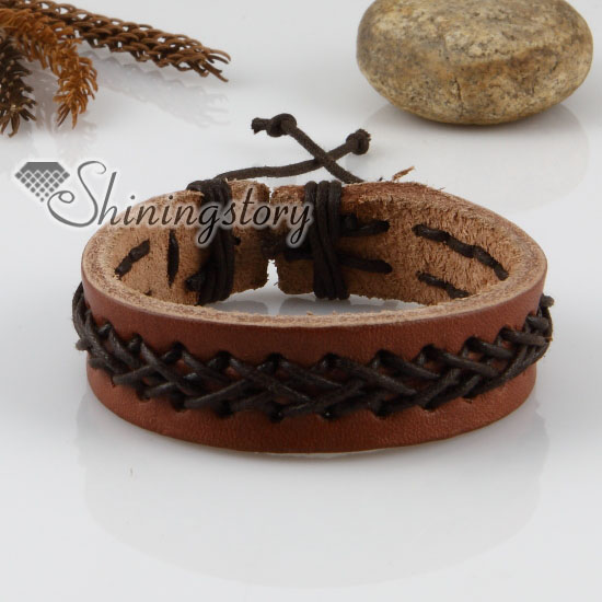 genuine leather wristbands adjustable drawstring bracelets unisex