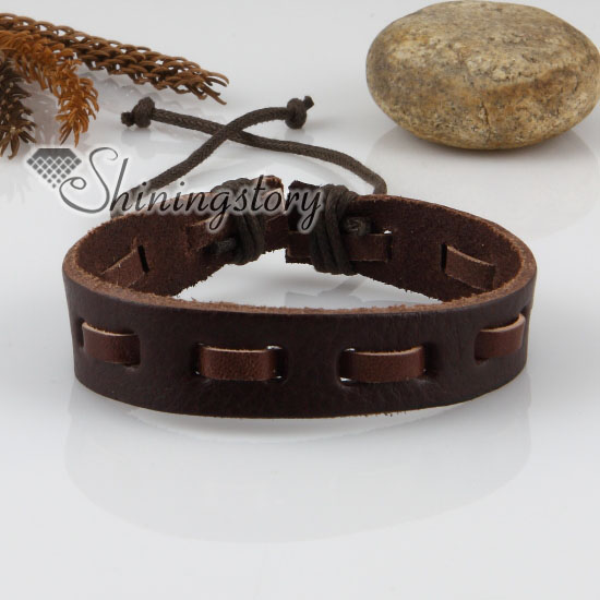 gothic genuine design wristbands leather bracelet bracelets punk style adjustable skull jewelry a