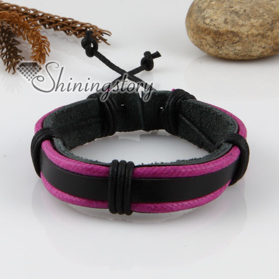 genuine leather wristbands adjustable drawstring warp bracelets unisex