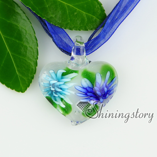 Glass heart pendants italian murano glass flowers inside necklaces glass heart pendants italian murano glass flowers inside necklaces with pendants design a mozeypictures Choice Image
