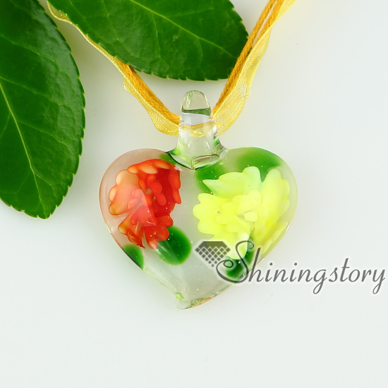 Glass heart pendants italian murano glass flowers inside necklaces glass heart pendants italian murano glass flowers inside necklaces with pendants design b mozeypictures Choice Image