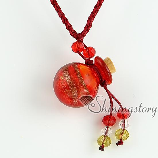 glitter essential oil diffuser necklaces small wish bottle pendants  necklace wholesale italian murano glass jewelry hand blown