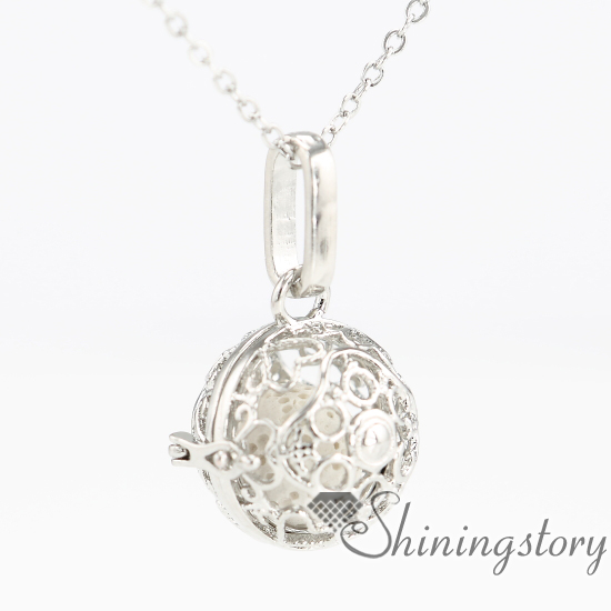 Heart Ball Metal Volcanic Stone Essential Oil Necklace Girls Locket Engravable Lockets Aroma Pendants Openwork Necklaces
