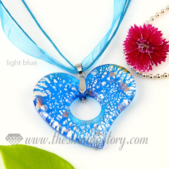 Heart foil lampwork murano glass necklaces pendants jewelry wholesale heart foil lampwork murano glass necklaces pendants jewelry light blue aloadofball Choice Image