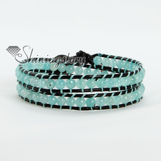 Jade Bead Beaded Double Wrap Leather Bracelets Light Blue