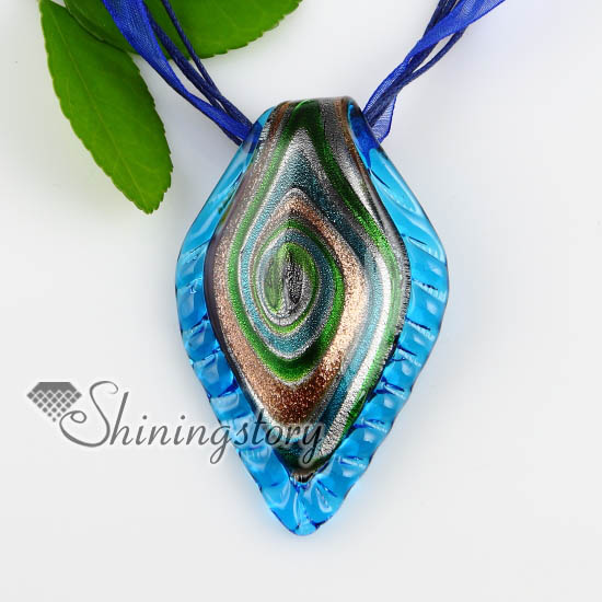 Leaf silver foil glitter swirled pattern lampwork murano italian leaf silver foil glitter swirled pattern lampwork murano italian venetian handmade glass necklaces pendants blue mozeypictures Choice Image