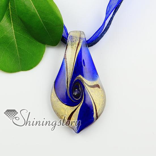 Perfect leaf swirled pattern glitter handmade murano glass necklaces  IG06