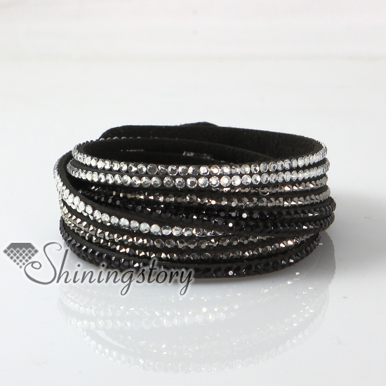 Leather Crystal Rhinestone Multi Layer Rainbow Color Snap Wrap Slake Bracelets Design A