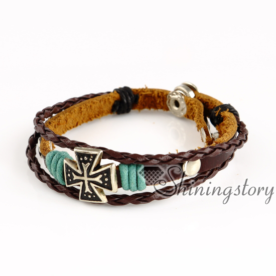 Malta Cross Whole Leather Bracelets For Women Friendship Charm Mens Wristbands Genuine