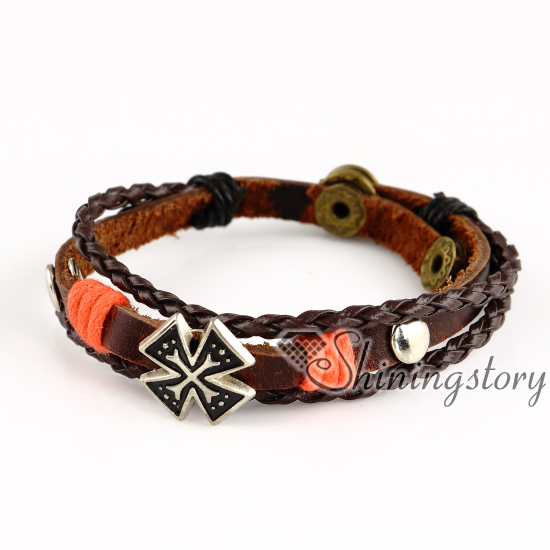Malta Cross Whole Leather Bracelets For Women Friendship Charm Mens Wristbands Genuine