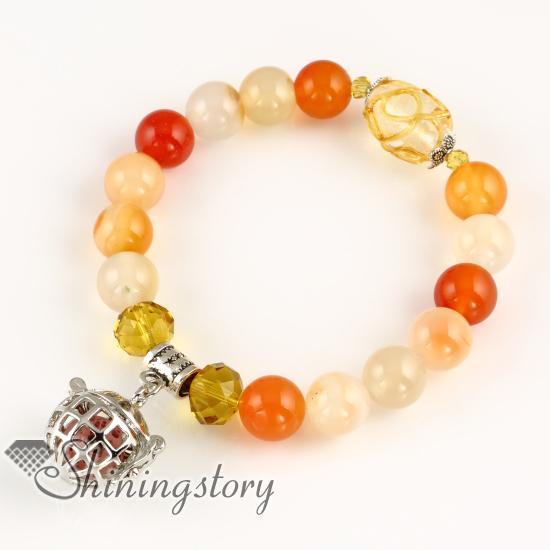 Openwork Aromatherapy Locket Essential Oil Diffuser Bracelet Natural Lava Stone Beads Bracelets Design E