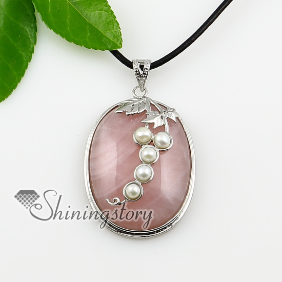 Oval leaf rose quartz semi precious stone freshwater pearl necklaces oval leaf rose quartz semi precious stone freshwater pearl necklaces pendants design a aloadofball Gallery