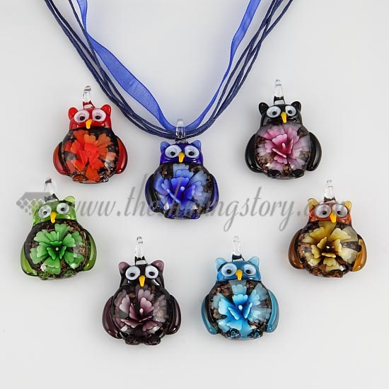 Owl flower lampwork murano glass necklace pendant jewellery wholesale owl flower lampwork murano glass necklace pendant jewellery assorted aloadofball Choice Image
