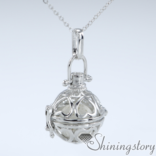 pearl locket pearl cage pendant lava stone essential oil necklace aroma jewelry wholesale necklace oil diffuser wholesale engraved locket