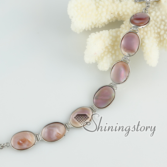 Pink Oyster Sea S Rhinestone Tennis Bracelets Round Oval Wrap Mother Of Pearl Jewelry Design