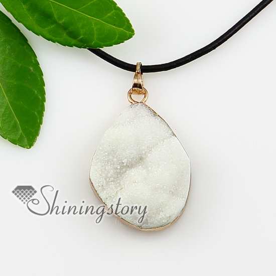 Quartz rock crystal semi precious stone with genuine leather quartz rock crystal semi precious stone with genuine leather necklaces pendants aloadofball Gallery