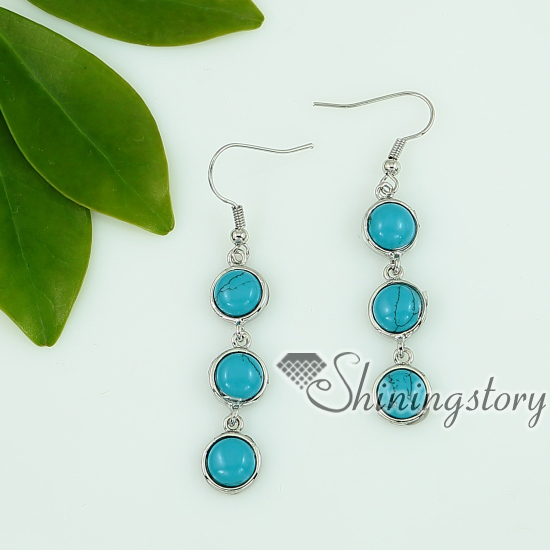 Rose Quartz Amethyst Agate Gl Opal Turquoise Dangle Earrings Round Design A