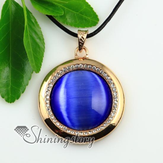 fb94ad002acfb8 round rose quartz amethyst jade cat's eye semi precious stone rhinestone  necklaces pendants design A