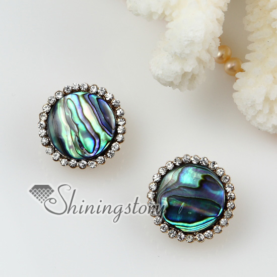 Round Seawater Rainbow Abalone S Mother Of Pearl And Crystal Rhinestone Stud Earrings Green