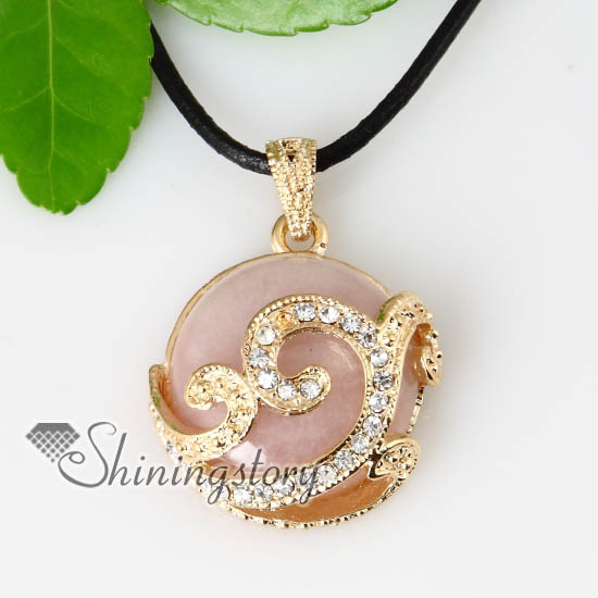 Round semi precious stone rose quartz jade tigers eye amethyst round semi precious stone rose quartz jade tigers eye amethyst crystal rhinestone necklaces pendants design mozeypictures Gallery