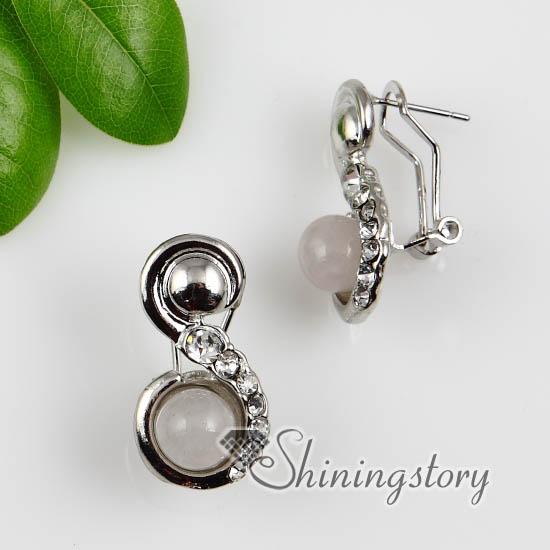 Round Semi Precious Stone Rose Quartz Tiger S Eye Jade And Crystsl Rhinestone Earrings Stud Ear Pins Whole