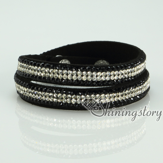 shining blingbling crystal rhinestone double layer wrap slake bracelets mix color