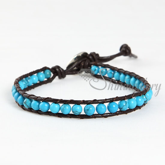 Single Wrap Leather Turquoise Beaded Bracelet Jewelry Design A