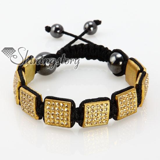 Square Charm Bracelet: Square Beads Rhinestone Macrame Bracelets Wholesale