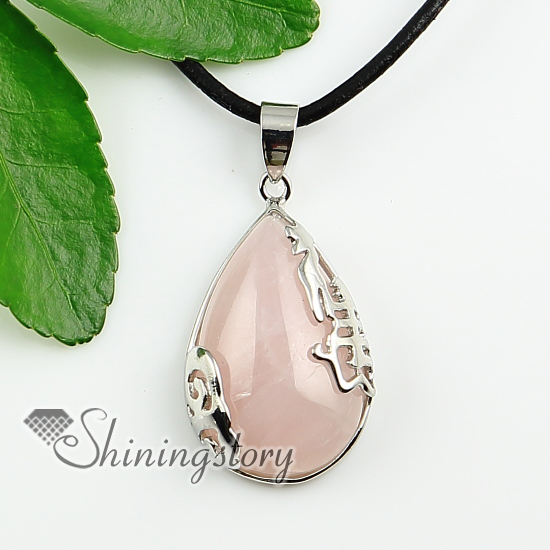 Teardrop natural stone rose quartz natural semi precious stone teardrop natural stone rose quartz natural semi precious stone pendant necklaces design a mozeypictures Image collections