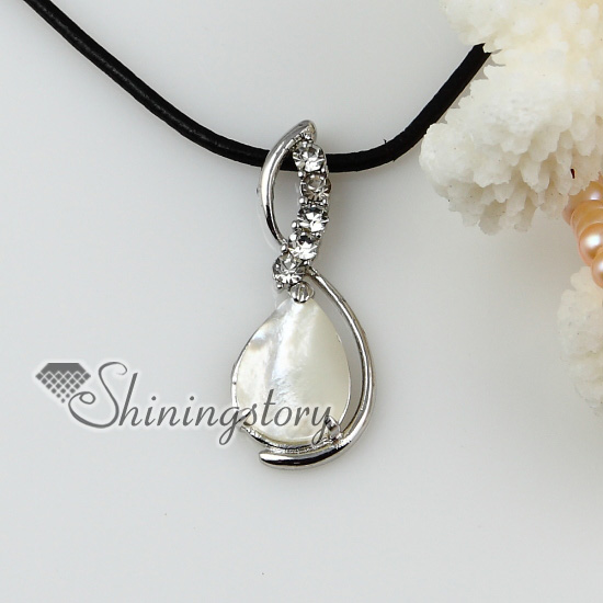 Teardrop sea water shell mother of pearl and crystsl rhinestone teardrop sea water shell mother of pearl and crystsl rhinestone pendants leather necklaces silver filled brass aloadofball Image collections