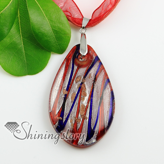 Teardrop silver foil with lines murano glass necklaces pendants teardrop silver foil with lines murano glass necklaces pendants design a aloadofball Gallery