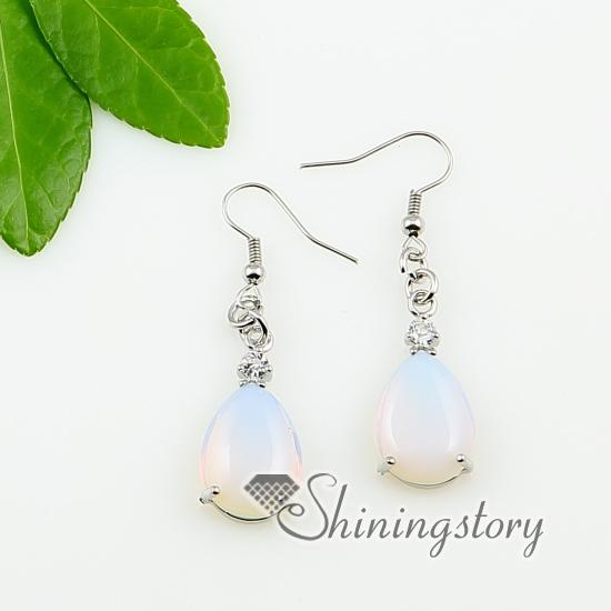 Teardrop Turquoise Amethyst Tigereye Opal Agate Semi Precious Stone Dangle Earrings Design D