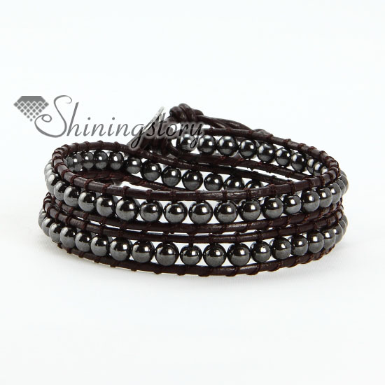 Two Layer Hemae Bead Beaded Leather Wrap Bracelets Black