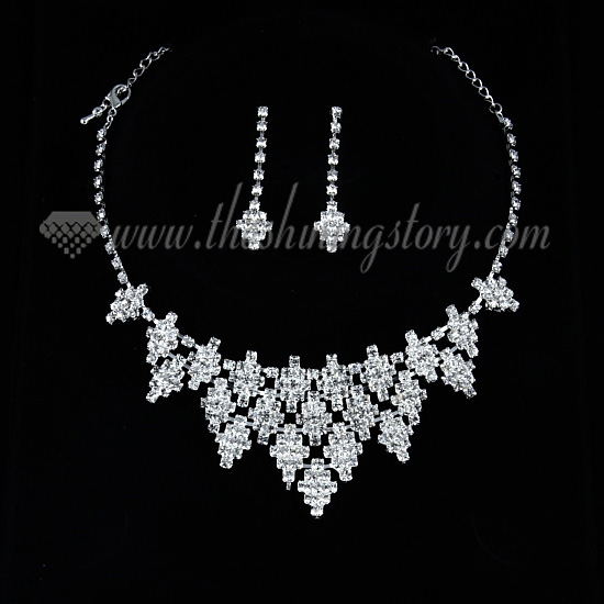 wedding bridal prom rhinestone chandelier necklaces and earrings 1
