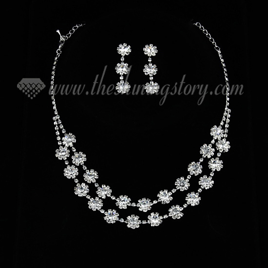 wedding bridal prom rhinestone floral neckalces jewelry sets wholesale