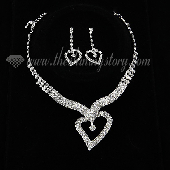Wedding Bridal Prom Rhinestone Heart Necklaces And Earrings Silver