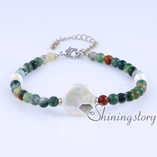 White Freshwater Pearl Bracelet Semi Precious Stone Bracelets Whole Bohemian Jewelry Handmade Boho