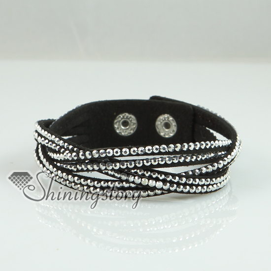 Woven Genuine Crystal Rhinestones Slake Bracelets Leather Wrap Blingbling Wristbands Design I