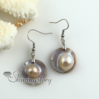 round pink oyster sea shell mother of pearl freshwater pearl earrings
