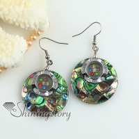 round flower patchwork turn rainbow abalone oyster sea shell mother of pearl rhinestone dangle earrings