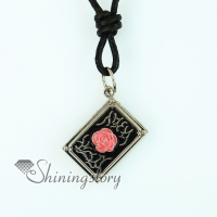 oblong flower genuine leather locket necklaces with pendants