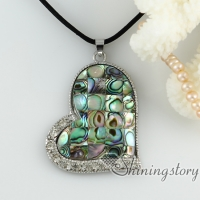 rainbow abalone sea shell necklaces rhinestone heart patchwork pendants mop jewellery