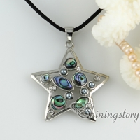 rainbow abalone shell necklaces rhinestone star round olive openwork pendants mop jewellery