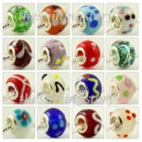200pc lampwork glass beads for fit charms bracelets
