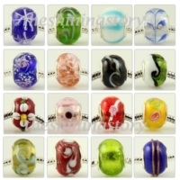 500pc murano glass big hole beads for fit charms bracelets