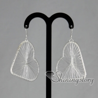 925 sterling silver filled brass filigree heart dangle earrings