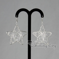 925 sterling silver filled brass filigree star dangle earrings