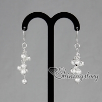 925 sterling silver filled brass glitter ball dangle earrings