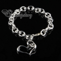 925 sterling silver filled brass heart bracelets with charms