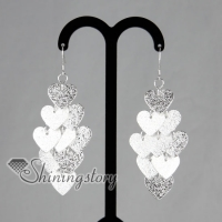 925 sterling silver filled brass hearts dangle earrings